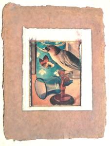 collage paper bird:wine glass
