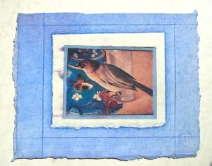 collage paper blue bird