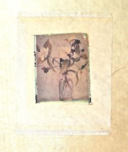collage silk:white blossoms+bottle