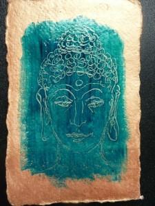 Buddha head scratch drawing